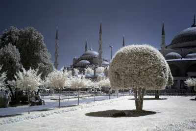 infrared shot of the bluemosque in Istanbul, Turkiye