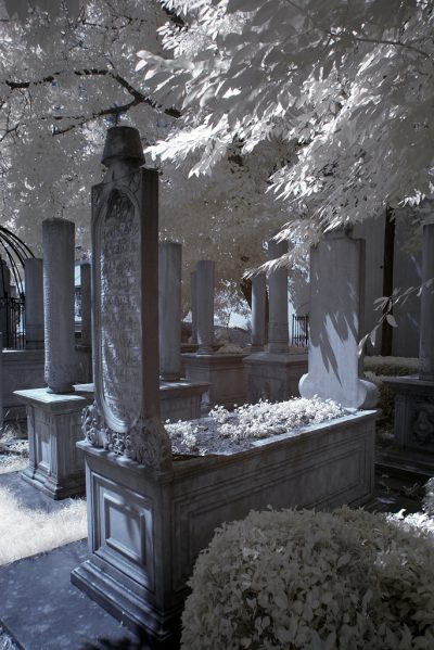 infrared shot of the old tombstone