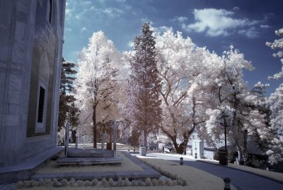 infrared shot of yesil tomb in bursa, turkiye