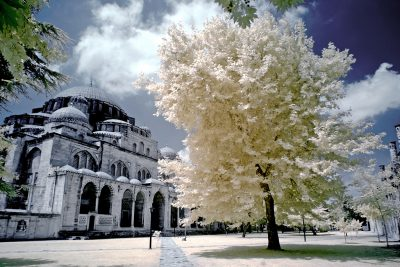 infrared shot of the Suleymaniye Mosque in Istanbul, Turkiye
