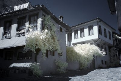 infrared shot of the old houses