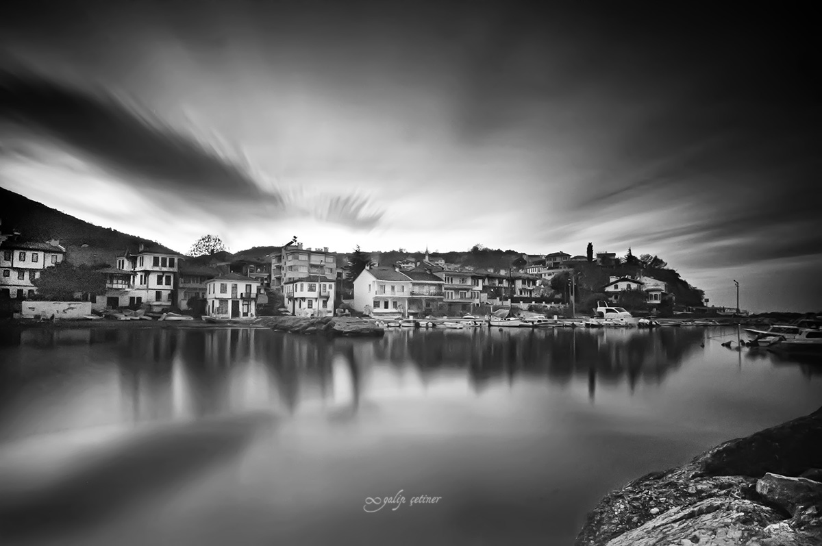 long exposure shot of the old city near the sea