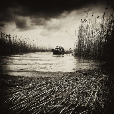 boat in the lake in black&white