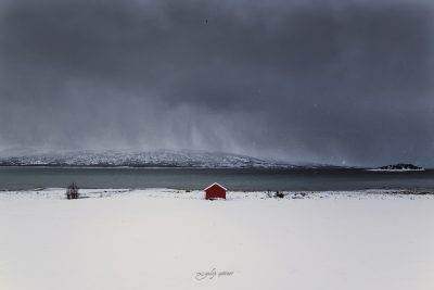 little ret hut in snow, lofoten, norway