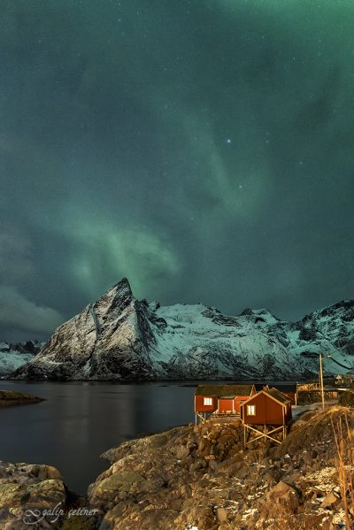 northern lights over reine in lofoten, norway