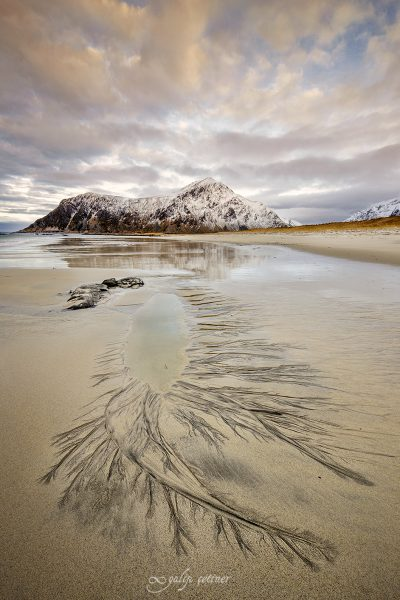 lifelines in the sand in Skagsanden beach, Lofoten, Norway
