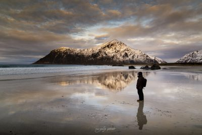 reflections in Skagsanden beach, Lofoten Norway