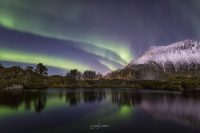 northern lights with reflections in lofoten, norway