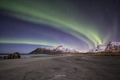 northern lights in skagsanden, lofoten, norway
