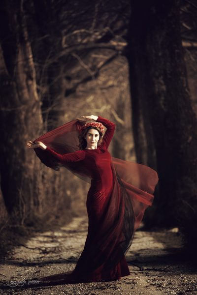 the beautiful girl with a red dress is standing between the trees