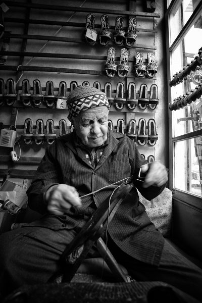 traditional old shoemaker