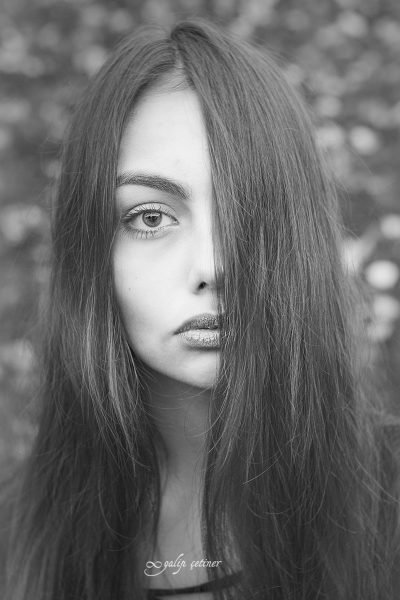 the blackandwhite portrait of the beautiful eyed girl