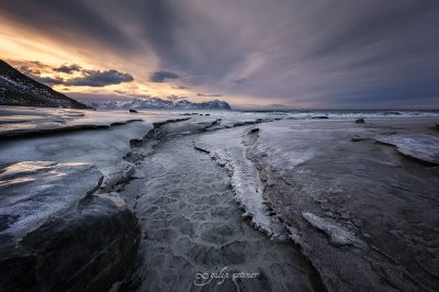 texture in the Skagsanden beach, Lofoten, Norway