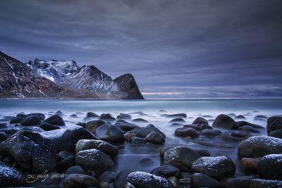 epic evening in Unstad beach, Lofoten, Norway