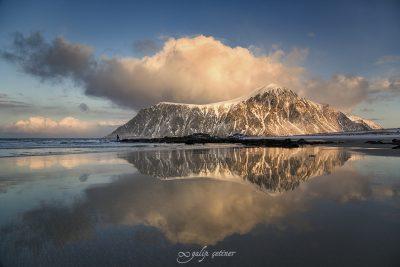 reflections in Skagsanden beach, Lofoten, Norway