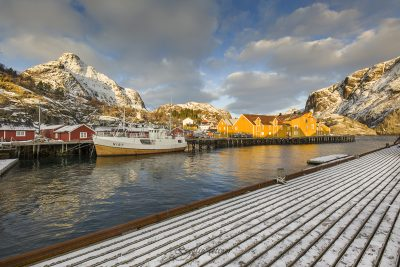 colored harbour of Nusfjord, Lofoten, Norway