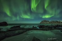 northern lights in uttekleiv, lofoten, norway