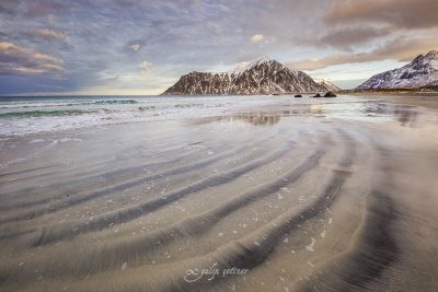 different lines in the sands of skagsanden beach, lofoten, norway