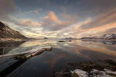 natural reflections in gimsoy, lofoten, norway