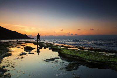photographer's silhouette in the sunset in ketendere, bursa, turkiye
