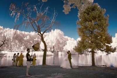 infrared shot of the wedding photo session in botanical park in bursa